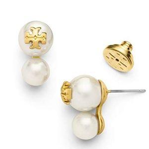 TORY BURCH Evie Double Faux Pearl Stud Earrings TB